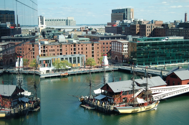 Boston Tea Party ship and museum on the Fort Point Channel, Boston