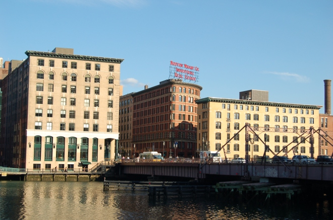 Wharfs and the Summer Street bridge, Fort Point, Boston